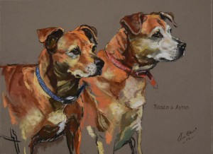 'Rosco and Astro' - pastel on paper