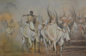 Dinka cattle herders - South Sudan - oil on canvas