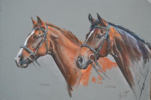 Robbie and Lennon - pastel on paper
