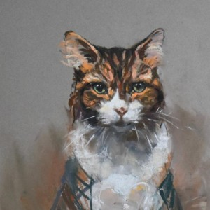 Tabby and white cat - pastel on paper
