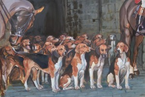 The Percy hounds - Alnwick castle - oil on canvas